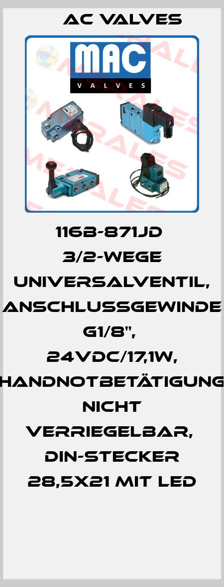 """МAC Valves-116B-871JD  3/2-Wege Universalventil, Anschlußgewinde G1/8"""",  24VDC/17,1W, Handnotbetätigung nicht verriegelbar,  DIN-Stecker 28,5x21 mit LED  price"""
