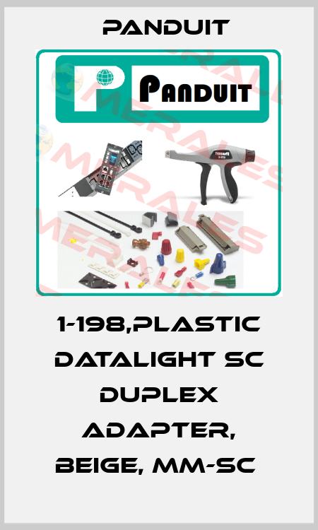 Panduit-1-198,PLASTIC DATALIGHT SC DUPLEX ADAPTER, BEIGE, MM-SC  price